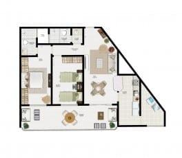 Planta Baixa - Apartamento Tipo 1 do empreendimento.