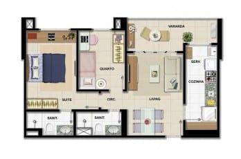 Planta baixa - Apartamento Tipo B - 2 quartos do empreendimento.