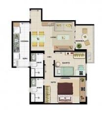 Planta baixa - Apartamento Tipo C - 2 quartos do empreendimento.
