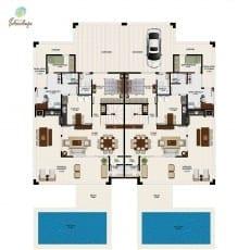 Planta baixa do pavimento térreo de duas unidades de casa de luxo Town House com terraço com 272m² do Ponta de Inhambupe, na praia de Baixio.