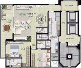 Planta baixa - 2 quartos, sala ampliada, lavabo e varandao - 97m2