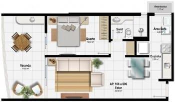 Planta Baixa - Planta D - 59,18 m² do empreendimento