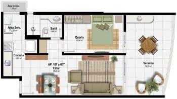 Planta Baixa do empreendimento - Planta E - 60,07 m²