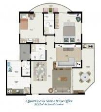 Planta baixa - Tipo 1C - 2 quartos com suíte e Home Office - 92,12m2 de área privativa
