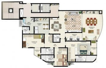 Planta tipo 3 - 3 quartos com 2 suítes com gabinete, living ampliado com circulação privada - Área privativa de 138m2