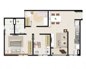 Planta tipo do empreendimento - 3 quartos com suíte e varanda - 58,36 m²
