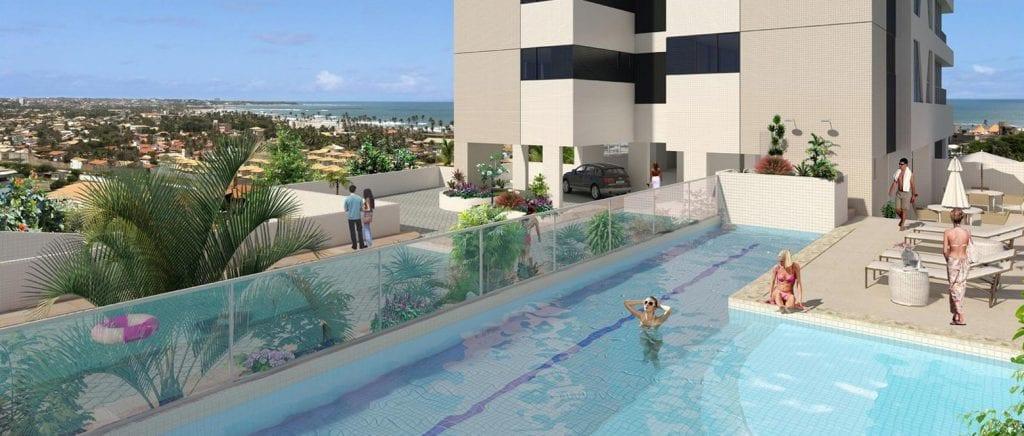 Perspectiva da piscina do Residenza Paradiso Reale
