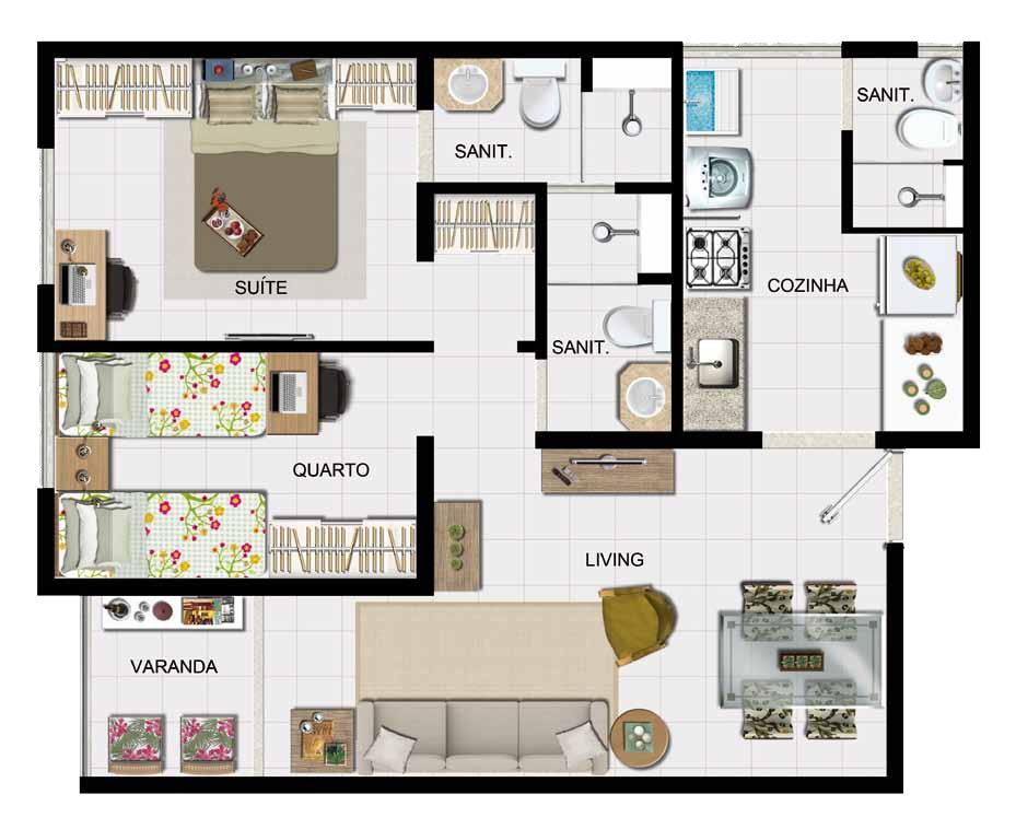 Medidas Banheiro Planta Baixa : Planta baixa quartos com suite banheiro de servico e