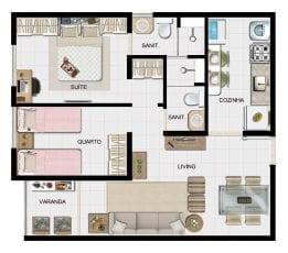 Planta baixa 2 quartos com suite e varanda