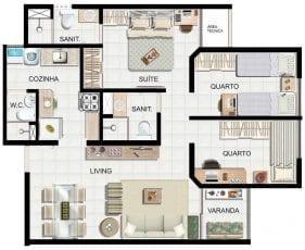 Planta baixa 3 quartos com suite e 60,5m2 de área privativa.