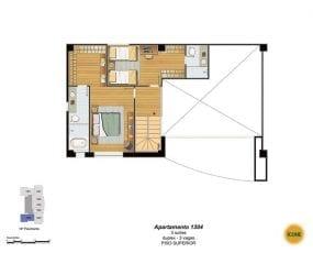 Planta Baixa - apartamento 1304 - 3 suítes, duplex - 3 vagas - Piso Superior