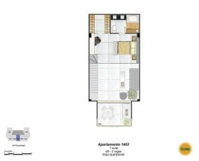 Planta Baixa - apartamento 1403 - 1 suíte, loft - 2 vagas - Piso Superior