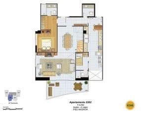 Planta Baixa - apartamento 2202 - 4 suítes, duplex - 4 vagas - Piso Inferior