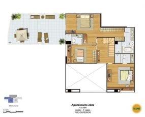 Planta Baixa - apartamento 2202 - 4 suítes, duplex - 4 vagas - Piso Superior