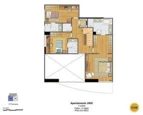 Planta Baixa - apartamento 2602 - 4 suítes, triplex - 6 vagas - Piso do Meio