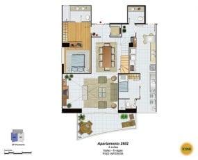 Planta Baixa - apartamento 2602 - 4 suítes, triplex - 6 vagas - Piso Inferior