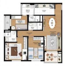 Planta baixa tipo 87m² cozinha fechada HR dormitório e serviço