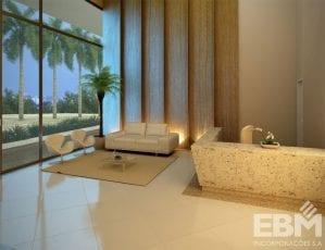 Perspectiva do lobby residencial