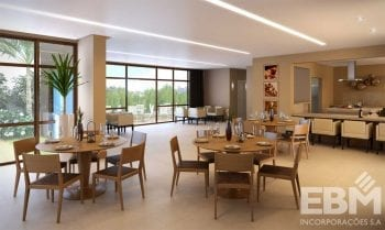 Perspectiva interna do salão de festas do Cosmopolitan Home Stay & Offices