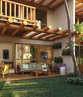 Perspectiva do bangalô 2 quartos. Casas à venda em condomínio em Itacimirim.