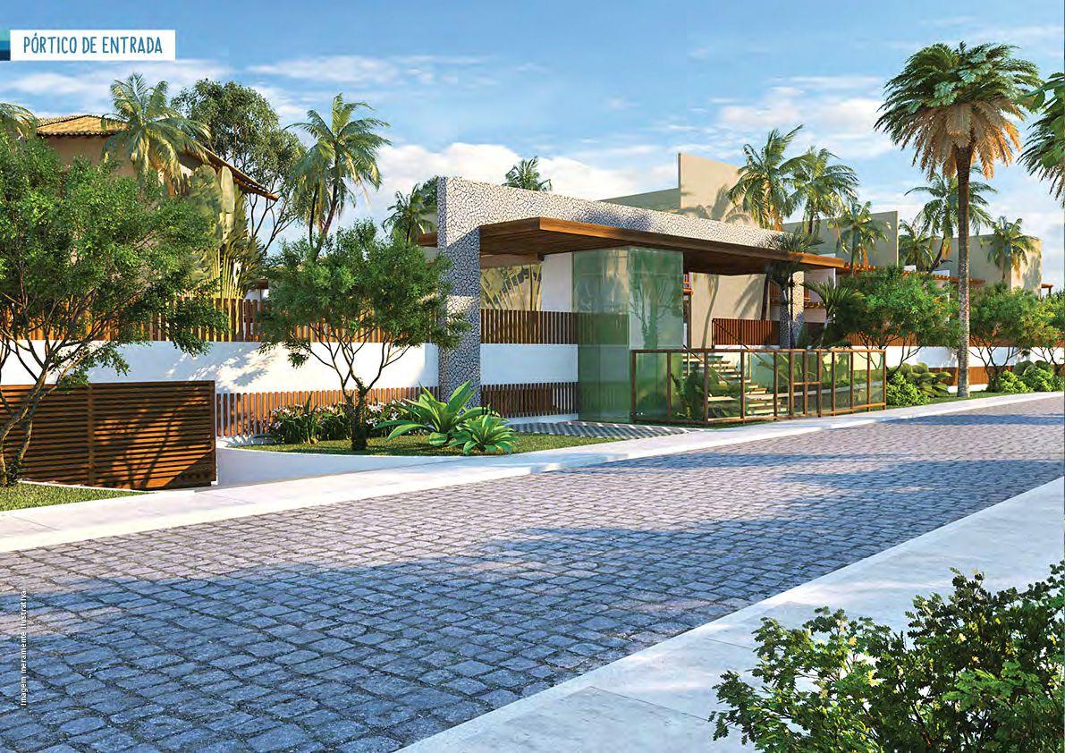 Perspectiva do pórtico de entrada. Casas à venda em condomínio em Itacimirim.