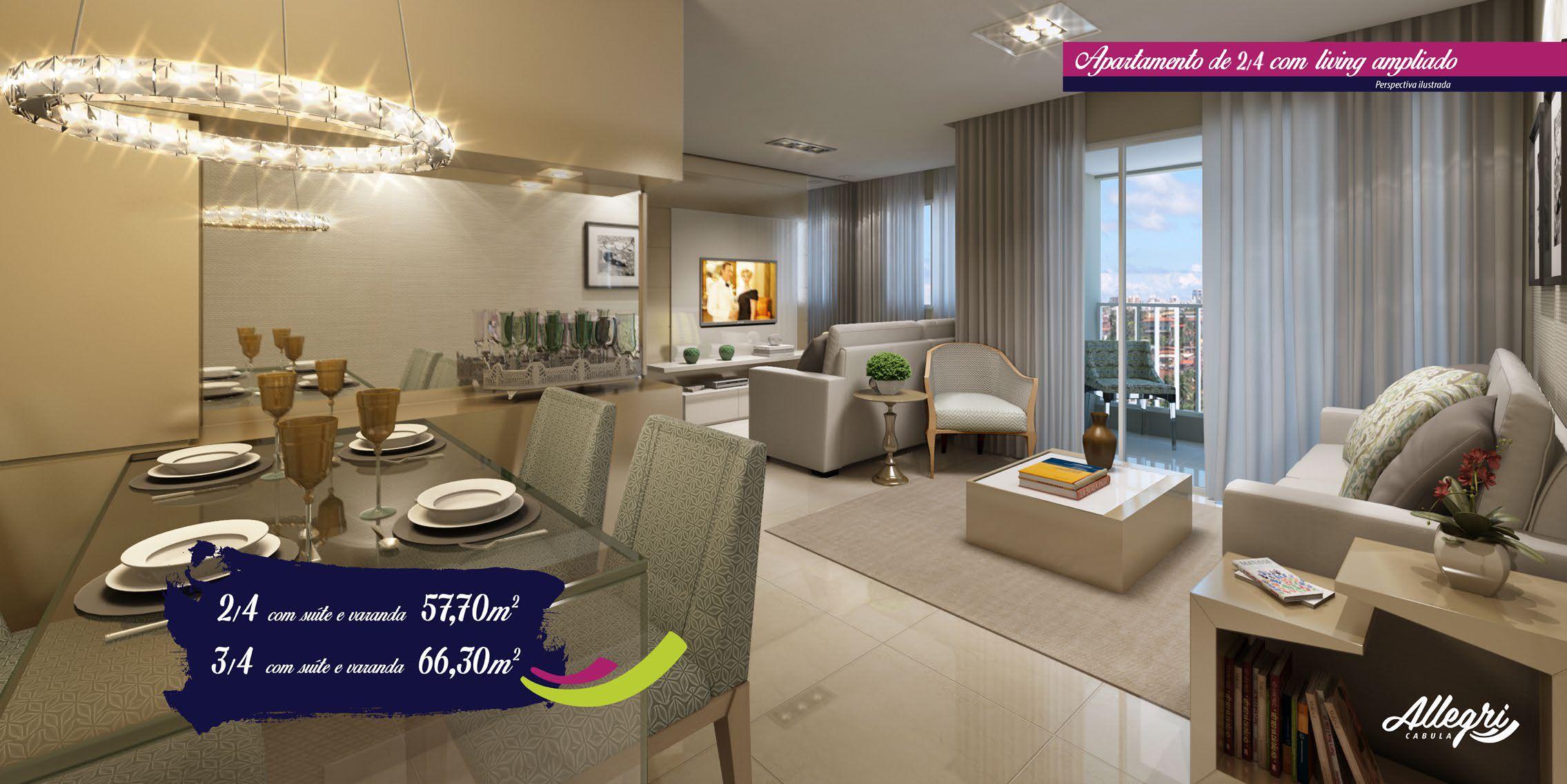 Perspectiva do apartamento 2 quartos com living ampliado