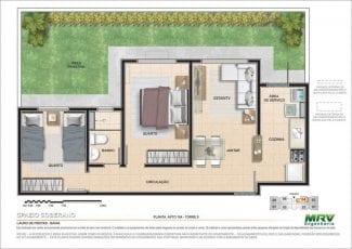 Planta baixa do Apartamento 104 - Torre 8