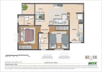 Planta baixa do Apartamento 202 - Torre 9