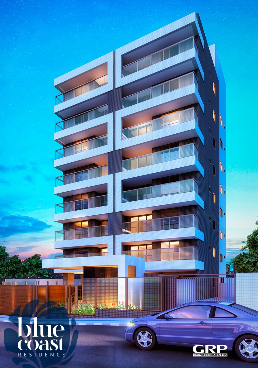 Perspectiva da fachada do Blue Coast Residence
