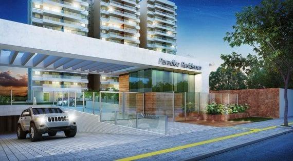 Perspectiva da entrada do Paradise Residence