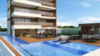 Perspectiva da piscina com raia de 25m e lounge gourmet do Jazz Princesa Isabel
