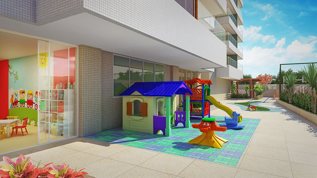 Perspectiva do Parque infantil do Paradise Residence