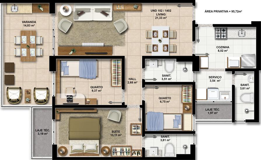 Perspectiva dos Apartamentos 102 a 1402 do Paradise Residence