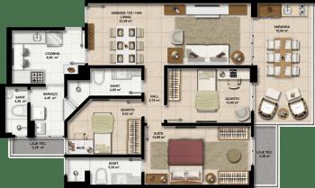 Perspectiva dos Apartamentos 103 a 1403 do Paradise Residence