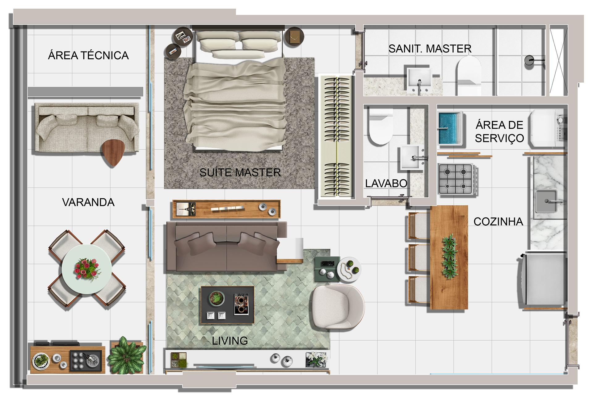 Planta baixa do apartamento de 01 suíte com lavabo, final 02 e 03 do Jazz Princesa Isabel