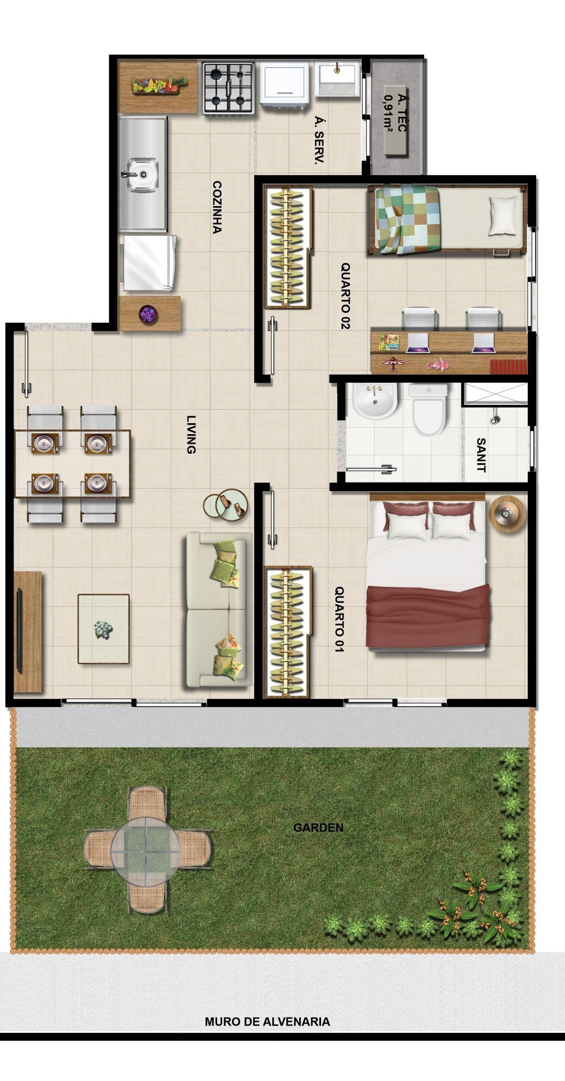 Apartamento 2 quartos com garden em 63m2