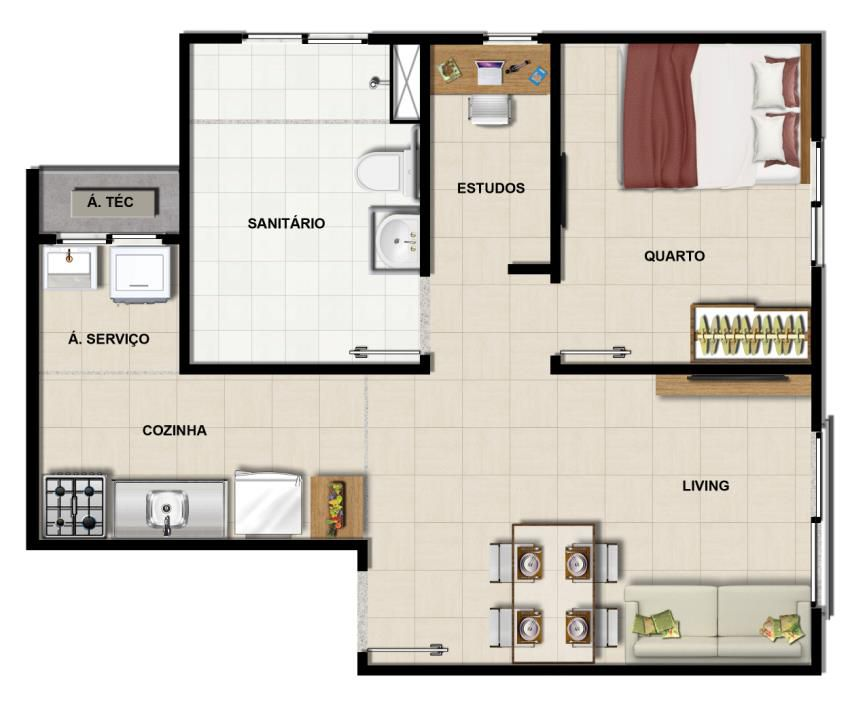 Apartamento quarto e sala PNE do 44m2
