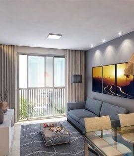 Perspectiva do living com janela panorâmica do apartamento 2 quartos