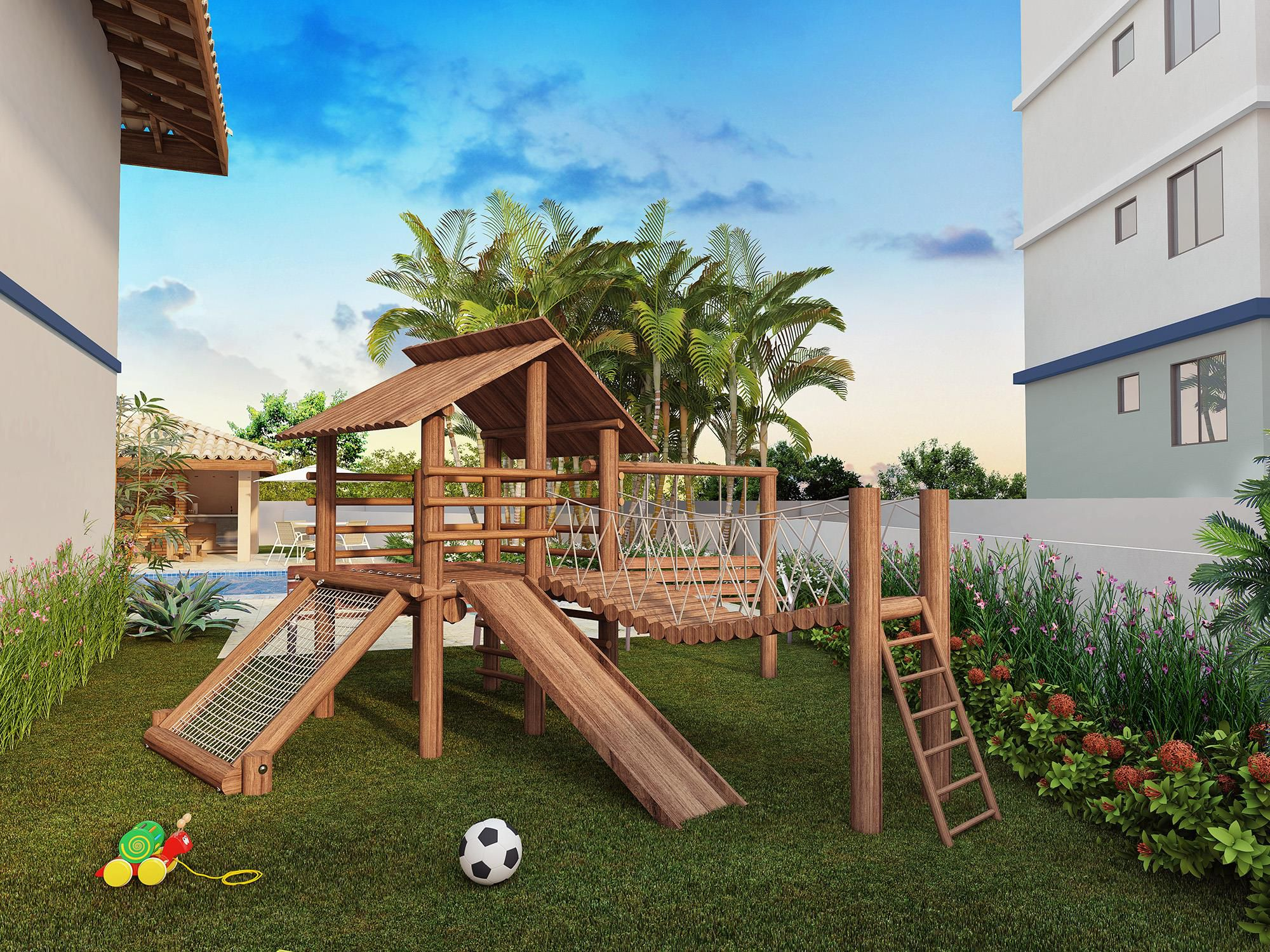 Perspectiva do parque infantil do Bella Vitta Residencial