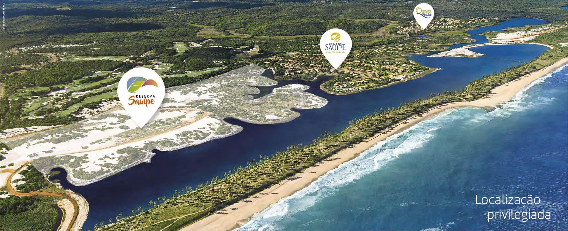 Foto aérea da localização do Condomínio Reserva Sauípe