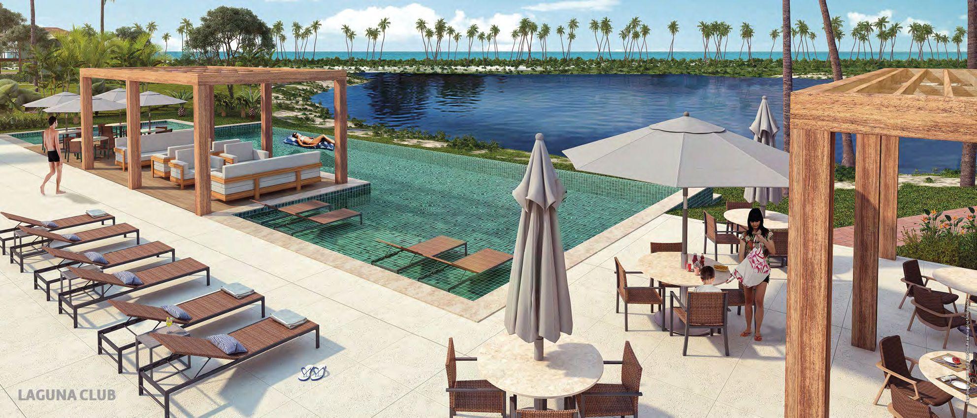 Perspectiva da piscina da Laguna Clube do Condomínio Reserva Sauípe