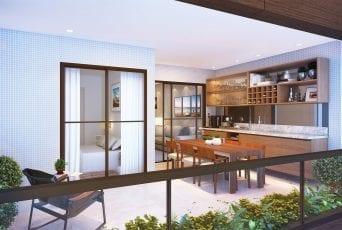 Perspectiva da varanda gourmet do apartamento com 2 suítes