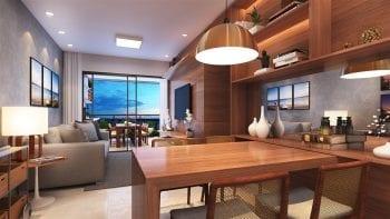 Perspectiva do living do apartamento com 2 suítes