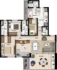Planta baixa do apartamento tipo 2 quartos com suíte, living ampliado, home theater, lavabo e dependência.