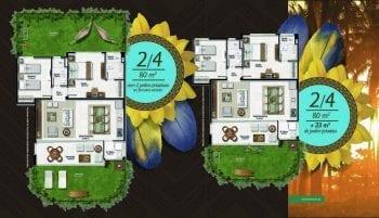 Planta baixa do apartamento 2 quartos de 80m2 com 2 jardins privativos em formatos variados no Residencial Ykutiba Imbassaí