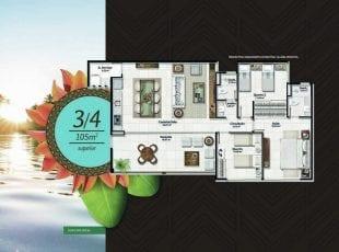 Planta baixa do apartamento 3 quartos de 105m2 superior no Residencial Ykutiba Imbassaí