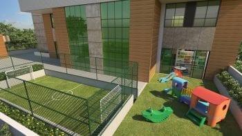 Perspectiva do Mini Campo, Parque Infantil e Brinquedoteca do Palazzo Rio Vermelho
