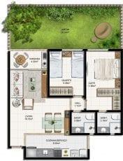 Planta baixa do apartamento 2 quartos com suíte e jardim privativo