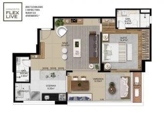 Planta baixa do apartamento de 1 quarto com lavabo do Palazzo Rio Vermelho