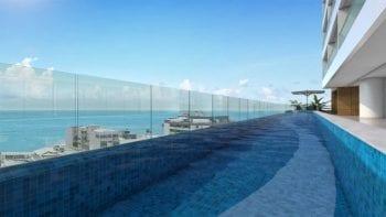 Perspectiva da piscina com borda infinita do 535 BARRA